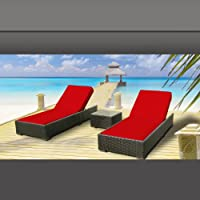 Luxxella Outdoor Patio Wicker Furniture 3 Pc Chaise Lounge Set RED by Luxxella