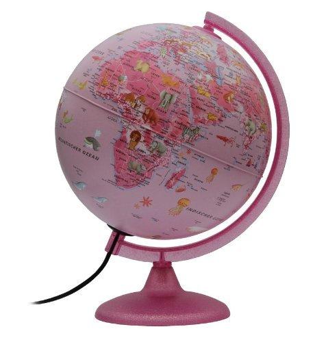Kinderglobus pink mit Beleuchtung - Leuchtglobus 25 cm mit Motiven (Deutsch)