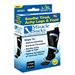 Miracle Socks Socks, Unisex, L/XL, Black 1 pair