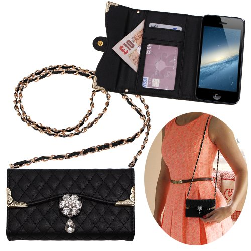 """Xtra-Funky Exclusive Luxury Faux Leather Quilted Handbag Purse Style Case With Carry Strap And Beautifully Decorated Crystal Flower For Iphone 6 (4.7"""") - Black (Includes A Mini Stylus And Lcd Screen Protector Film)"""