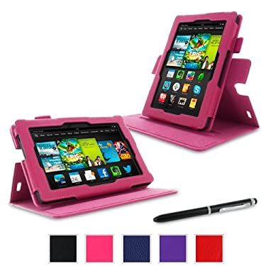 "rooCASE Case for Amazon All- Kindle Fire HD 7 - Dual-View Folio Case 7"" Tablet (2013 Model) - MAGENTA (With Auto Wake / Sleep Cover)"