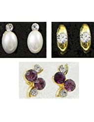 DollsofIndia Three Pairs Of Small Stone Setting Stud Earrings - Stone And Metal - White - B00K4F2OUU