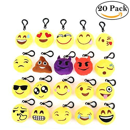 oobest® 20 Pack Emoji Keychain, Emoji Mini Plush Pillows, Mini Emoji-Pop Plush Pillow Keychain, Keychain Decorations, Kids Party Supplies Favors