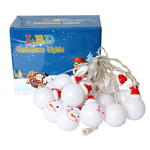 Christmas String Lights 20 LED 16.4ft Electric Powered Snowman Decorations Lighting for Xmas, Christmas Tree, Indoor, Outdoor, Holiday, Festival, Party Decor (Cool White) (Electric Snowman compare prices)