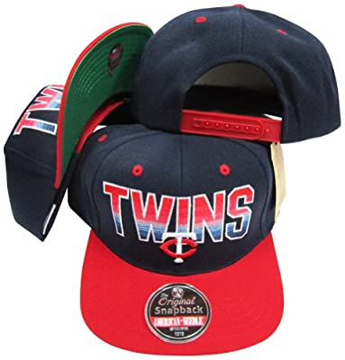 Minnesota Twins Navy/Red Two Tone Plastic Snapback Adjustable Plastic Snap Back Hat / Cap