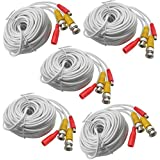 5-Pack 20M 65ft. White Pre-made All-in-one BNC Video And Power Cable Wire With Connector DC 2.1mm For CCTV Surveillance...
