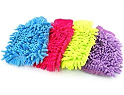 Microfiber Super Soft Hand Glove (Set of 4) Duster Washing Mitt Single Side Gloves