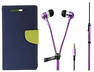 Novo Style Book Style Folio Wallet Case LenovoK4 Note Blue + Zipper Earphones/Hands free With Mic 3.5mm jack