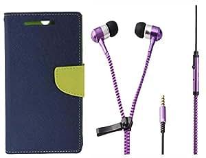 Novo Style Book Style Folio Wallet Case Samsung GalaxyOn5 Blue + Zipper Earphones/Hands free With Mic 3.5mm jack