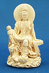 Kwan Kuan Quan Yin Statue Figure Deity Chinese Goddess of Compassion in Royal Ease Posture
