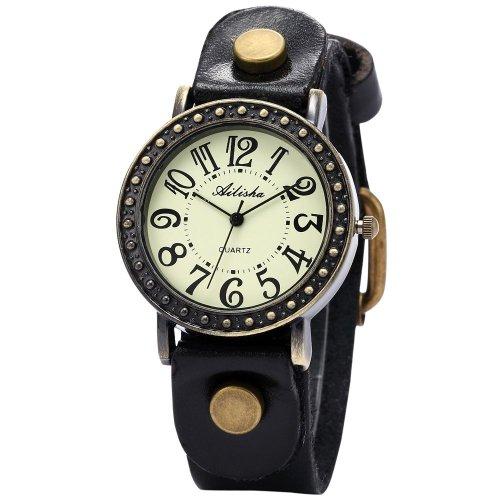 Ailisha Luxury Bronze Bezel Genuine Black Leather Lady Bracelet Sports Quartz Watch WAA427
