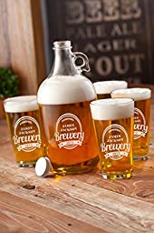 Personalized Growler With 4 Pub Glasses