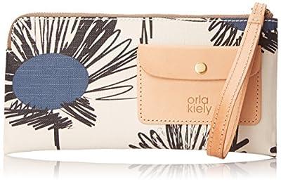 Orla Kiely Textured Vinil Sunflower Print Flat Zip Purse Wallet