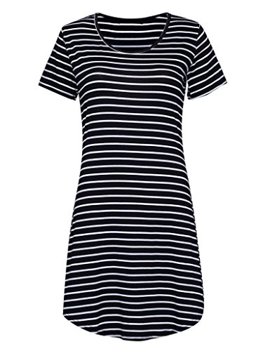 PERSUN Women's Summer Basic Stripes Short Sleeve Shift Mini Dress Top,Black02,Medium