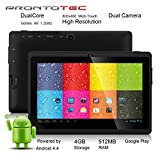 """ProntoTec 7"""" Android 4.4 KitKat Tablet PC, Cortex A8 1.2 GHz Dual Core Processor,512MB / 4GB,Dual Camera,HDMI,G-Sensor (Black)"""