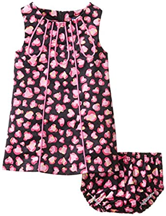 Hartstrings Baby-Girls Infant Cotton Stretch Corduroy Dress with Diaper Cover, Leopard Print, 12 Months
