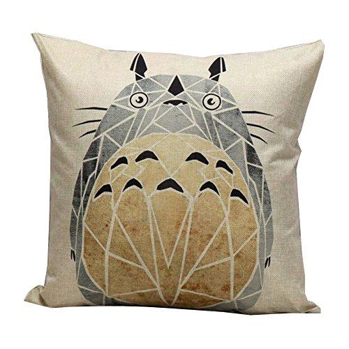 NITAN Baumwolle Leinen Dekokissen Fall Quadratisch Sofa Auto Dekorative Kissenbezug Kissenhülle Geometrisch 45 x 45cm - Mein Nachbar Totoro