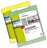 ALCLEAR 8215810yg 2-er Set Ultra-Microfaser Küchentücher perfekt für Küche, Gastronomie, Gläser, Geschirr, 32 x 36 cm, grün und gelb