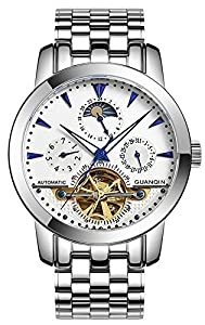 Fanmis Men Luminous Waterproof Automatic Mechanical Stainless Steel Watches Calendar Moon Phase White 1