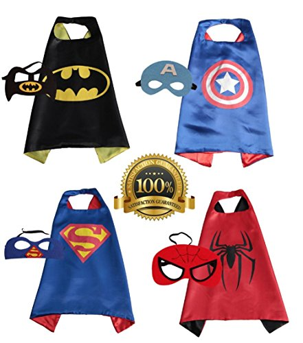 4 PACK Satin Superhero CAPE & MASK SETS - Boys, Girls, Children (Boys Superhero Set)