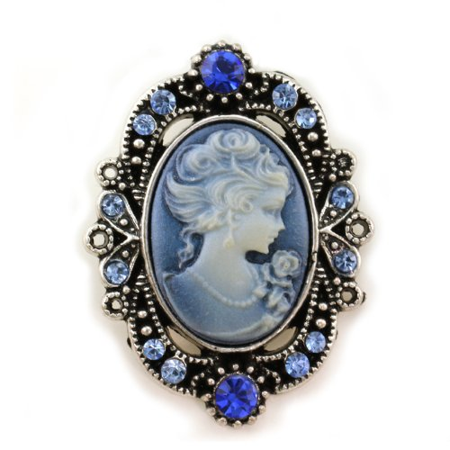 Royal Blue Cameo Brooch Pin Charm Antique Silver