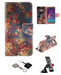 Samsung Galaxy S6 Wallet Case , Castle Cas [Colorful Flower] Duplex Design Flip Card Slot Slim Fit Magnetic Premium Polyurethane Leather TPU Cover Case With Car Mount Phone Holder - Color