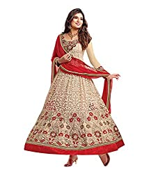 Fashion Forever Beige And Red Brasoo Neck Embroiderd Long Anarkali Suit