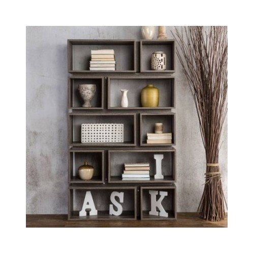 Furniture of America Cassidy Tiered Distressed Grey 10-Shelf Open Bookcase 1