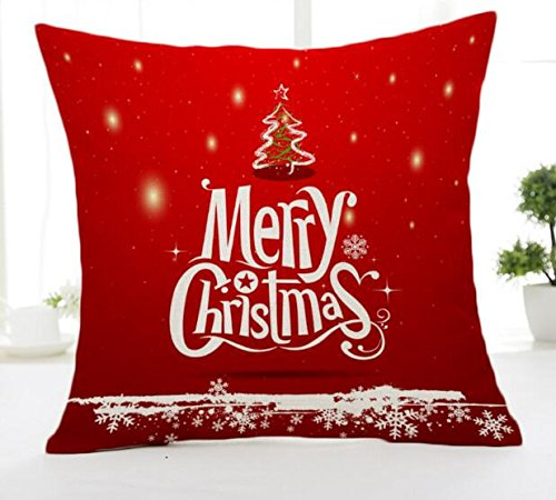 Merry Christmas Bell Red Cotton Linen Throw Pillow Case Cushion Cover Home Sofa Decorative 18 X 18 Inch(3) (12)