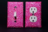SET OF LUMINOUS PINK Glitter Switch Plate Outlet Covers ALL Styles Available!