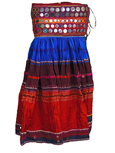 Exclusive Tribal Long Skirt Belly Dance Indian Mirror Work Costume Clothing M
