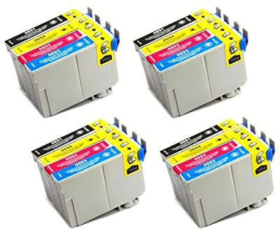 16 Pack - Toners & More ® Remanufactured Inkjet Cartridge Set for Epson T069 #69, T069120 Black, T069220 Cyan, T069320 Magenta, T069420 Yellow, Compatible with Epson Stylus CX5000, CX6000, CX7000F, C120, CX7400, CX8400, CX9400 Fax, CX7450, NX100, NX300, N
