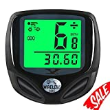 Bike Speedometer Waterproof Wireless Bicycle Bike Computer and Cycling Odometer with Automatic Wake-up Multi-Function LCD Backlight Display (Color: White)