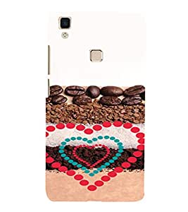 PrintVisa Coffee Love Design 3D Hard Polycarbonate Designer Back Case Cover for VivoV3