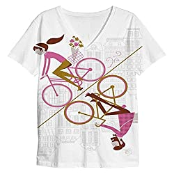 Snoogg Mirror Cycling 2557 Mens Casual V Neck All Over Printed T Shirts Tees