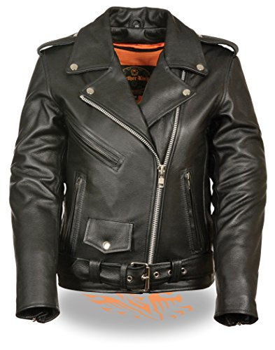 LC2701 Ladies Black Basic Classic Motorcycle Premium Leather Jacket with plain sides (Motorcycle Side Lift compare prices)
