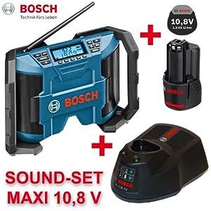 bosch gml 10 8v li radio de chantier sans fil avec haut parleurs 2 x 5 w c ble aux in et. Black Bedroom Furniture Sets. Home Design Ideas