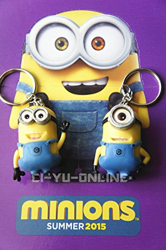 New-2-Pcs-2015-Minions-Movie-Despicable-Me-Toy-Rubber-3D-KeyChain-Action-Firuges