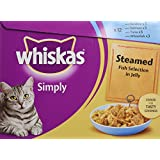 Whiskas Simply Steamed Fish in Jelly 12 Pouches  12*85g (Pack of 4, Total 48 Pouches)