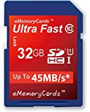 EMemoryCards 32GB/32GIG Class 10 SD Ultra Fast 45MB/s SD SDHC Memory Card for Panasonic Lumix DMC-LZ30E-K Camera