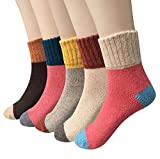 Pack of 5 Womens Winter Soft Warm Thick Knit Wool Vintage Casual Crew Socks