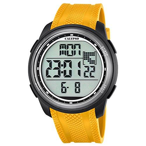 Calypso UK5704/1 Orologio da polso digitale da uomo, al quarzo, stile sportivo, con cinturino in poliuretano, colore: giallo, quadrante nero