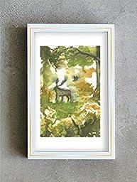 1 0 x 7, Deer in a wood, forest art, landscape, watercolor original by Andrejs Bovtovics.