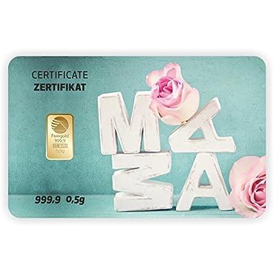 Goldbarren Geschenkkarte 0,5 g 0,5g Gramm Feingold 999.9 Nadir Gold Mama Papa