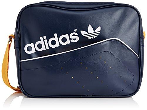 Adidas, Borsa Originals Airliner Perforated, Blu (Collegiate Navy/Collegiate Gold/White), 12 x 38 x 28 cm, 17,2 l
