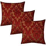 Jacquard Fabric Self Design Eyelet 16 X 16 Size Red Cushion Cover - Pack Of 3