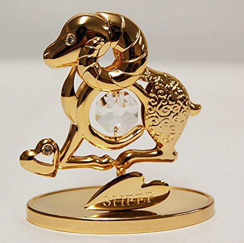 24k Gold Plated Sheep Free Standing with Swarovski Crystal