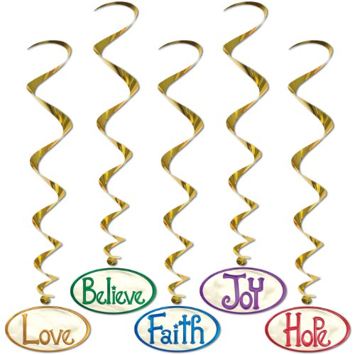 Christmas Word Hanging 40-inch Whirls 5 Per Pack