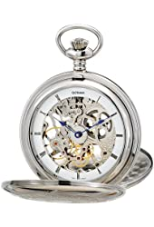 Gotham Men's Silver-Tone Mechanical Pocket Watch with Desktop Stand # GWC18800S-ST