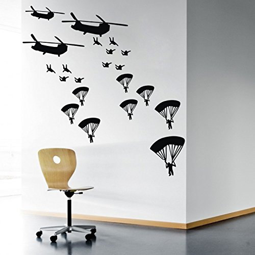 """Colorfulhall Large Size 41.33"""" X 39.37"""" Vinyl Wall Art Murals Boy Room Wall Decor Helicopter Wall Decal Sticker front-801627"""